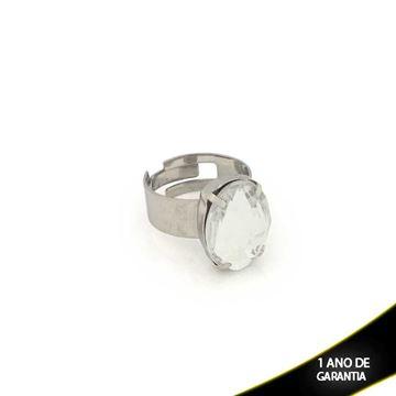 Imagem de Anel Aço Inox Regulável com Pedra Acrílica Oval Branca - 0100666