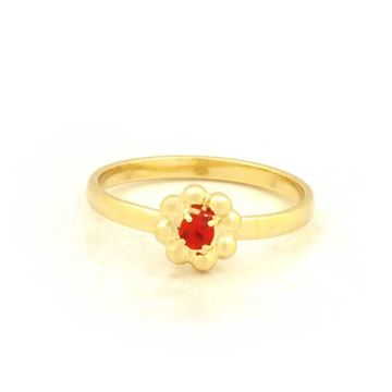 Imagem de Anel Infantil Flor com Pedra de Strass Vermelho - 0102044