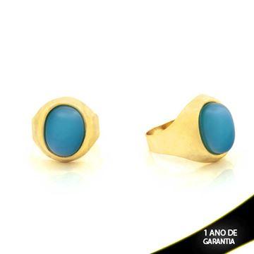 Imagem de Anel Oval com Pedra Azul Claro - 0103316