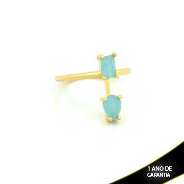 Imagem de Anel com Pedras Naturais Azul Claro - 0104495