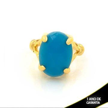 Imagem de Anel com Pedra Acrílica Oval Azul Claro - 0103986
