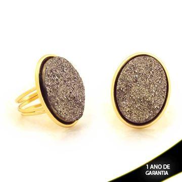 Imagem de Anel Oval com Réplica de Pedra Drusa Cinza - 0103845