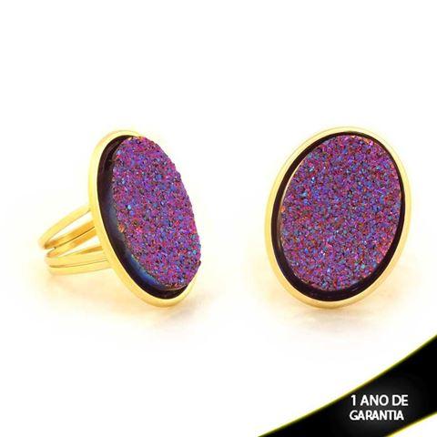 Imagem de Anel Oval com Réplica de Pedra Drusa Pink e Azul - 0103845