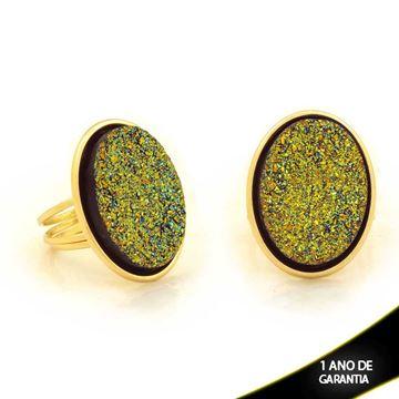 Imagem de Anel Oval com Réplica de Pedra Drusa Azul e Amarelo - 0103845