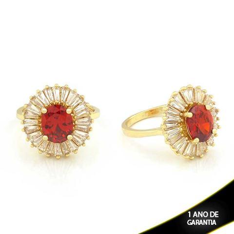 Imagem de Anel Oval com Pedras de Zircônias Vermelha - 0104505