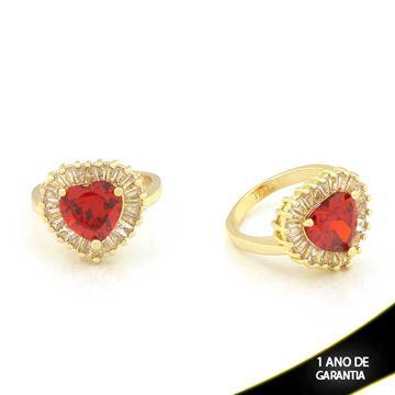 Imagem de Anel Coração com Pedras de Zircônias Vermelha - 0104509