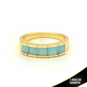 Imagem de Anel com Pedras de Zircônias Azul Claro - 0104698
