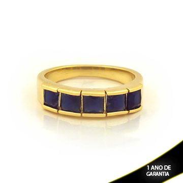 Imagem de Anel com Pedras de Zircônias Azul Escuro - 0104698