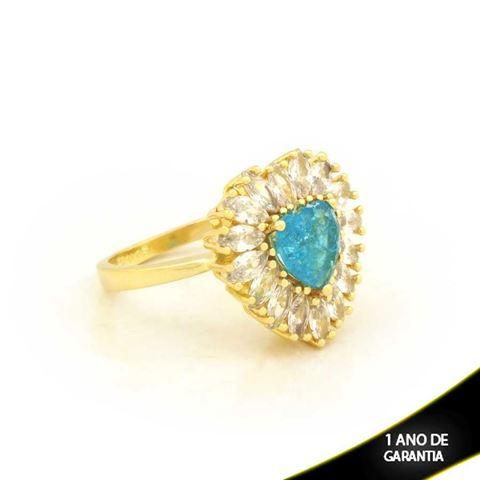 Imagem de Anel Coração com Pedras de Zircônias Azul Claro - 0104722