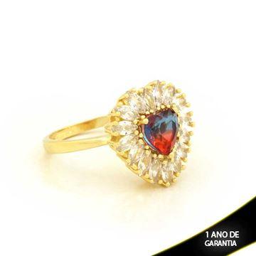 Imagem de Anel Coração com Pedras de Zircônias Azul com Vermelho - 0104722
