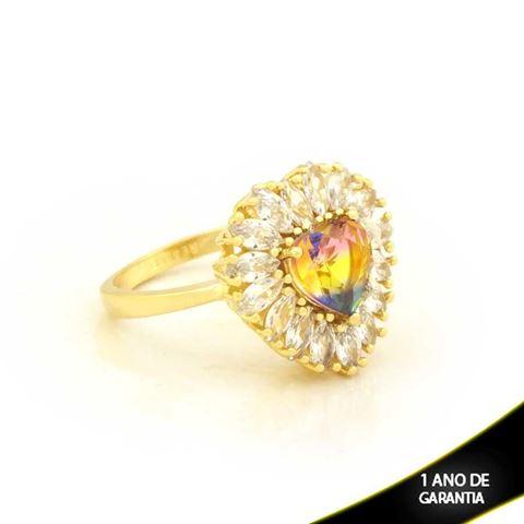 Imagem de Anel Coração com Pedras de Zircônias Colorido - 0104722