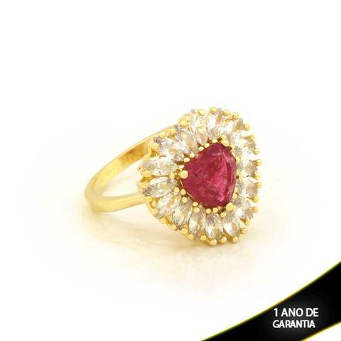 Imagem de Anel Coração com Pedras de Zircônias Vermelho Claro - 0104722