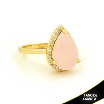 Imagem de Anel Gota com Pedras de Zircônia Rosa - 0104724
