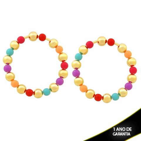 Imagem de Brinco Redondo com Bolas Lisas e Coloridas - 0211887