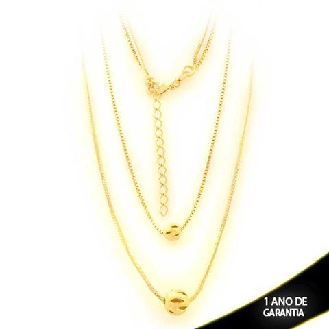 Imagem de Corrente Feminina Dupla com Bolas Foscas e Diamantadas Vazadas - 0403548