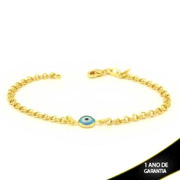 Imagem de Pulseira Feminina com Olho Grego Azul Claro 18cm - 0503804