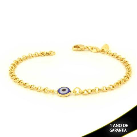 Imagem de Pulseira Feminina com Olho Grego Azul Escuro 18cm - 0503804