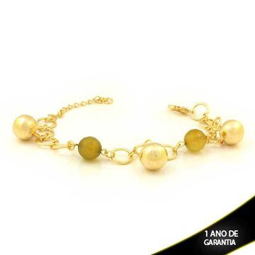 Imagem de Pulseira Feminina com Bolas Diamantadas e Pedras Redondas 16cm Mais 5cm de Extensor - 0503161