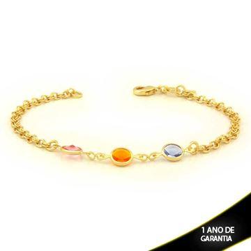 Imagem de Pulseira Feminina com Três Pedras Coloridas 18cm - 0503809