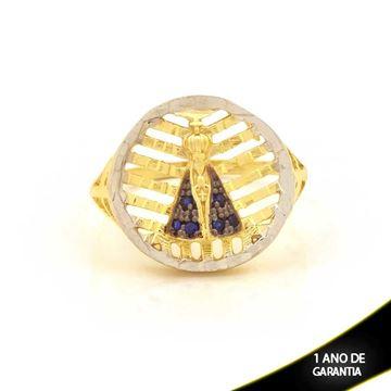 Imagem de Anel Nossa Senhora Aparecida Diamantado com Zircônias Azul e Aplique de Ródio - 0104612