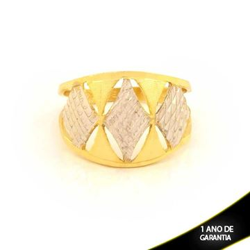 Imagem de Anel Fosco e Diamantado com Aplique de Ródio - 0104599