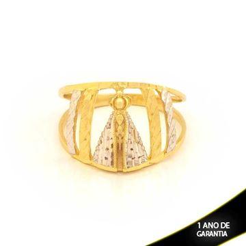 Imagem de Anel Nossa Senhora Aparecida Diamantado com Aplique de Ródio - 0104596