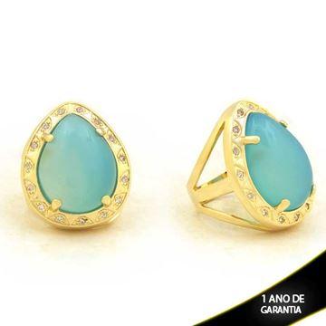 Imagem de Anel com Pedra Natural de Gota Azul Claro com Zircônias - 0103908