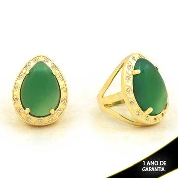 Imagem de Anel com Pedra Natural de Gota Verde com Zircônias - 0103908