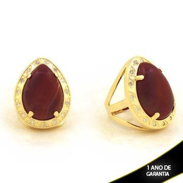 Imagem de Anel com Pedra Natural de Gota Vinho com Zircônias - 0103908