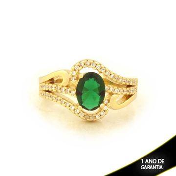 Imagem de Anel Trabalhado Com Pedra Oval Com Zircônias Verde - 0104095