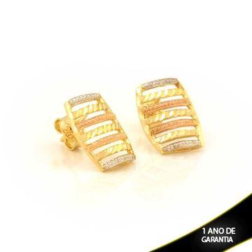 Imagem de Brinco Vazado Diamantado Trabalhado com Aplique de Ródio e Banho Rosê - 0211684