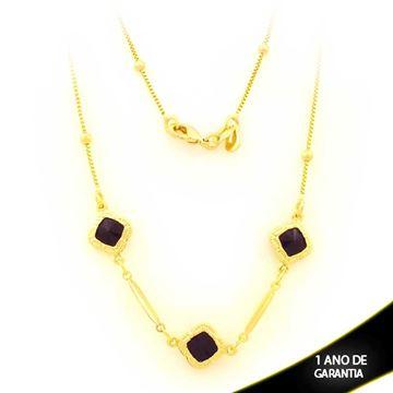 Imagem de Corrente Feminina com Pedras Pretas Quadradas e Bolinhas 45cm - 0403564