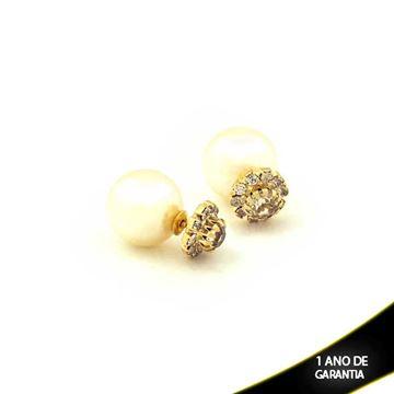 Imagem de Brinco de Pérola Dior com Flor de Strass Branco - 0208289
