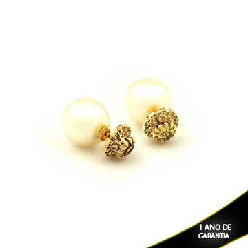Imagem de Brinco de Pérola Dior com Flor de Strass Amarelo - 0208289
