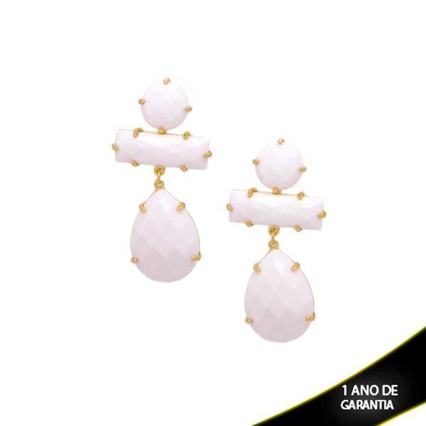 Imagem de Brinco de Pedras Acrílicas Brancas - 0207456