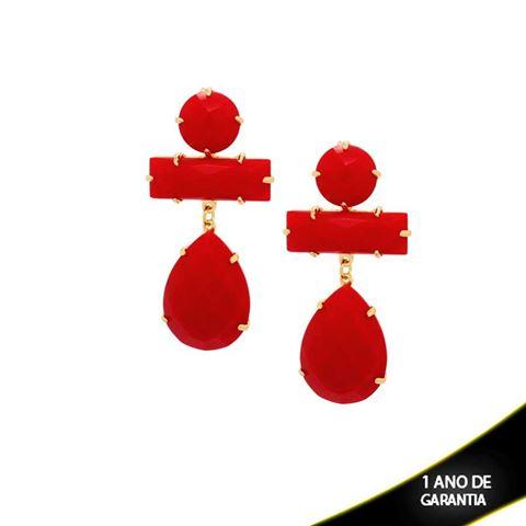 Imagem de Brinco de Pedras Acrílicas Vermelhas - 0207456