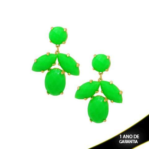 Imagem de Brinco Grande de Pedras Acrílicas Folha Verde - 0207453