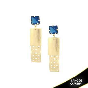 Imagem de Brinco com Peça Chapiscada e Vazada com Pedra Azul - 0209144