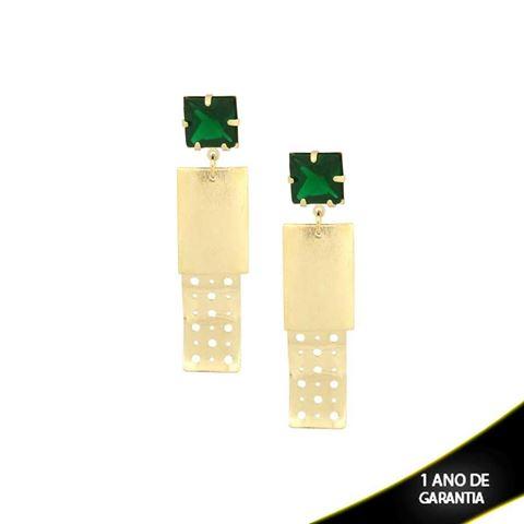 Imagem de Brinco com Peça Chapiscada e Vazada com Pedra Verde Escuro - 0209144