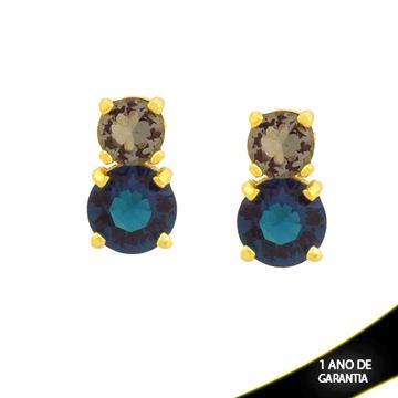 Imagem de Brinco de Pedras de Zircônia Redondas Fumê e Azul - 0211735