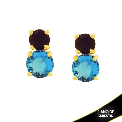 Imagem de Brinco de Pedras de Zircônia Redondas Preto e Azul - 0211735