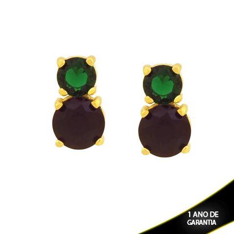 Imagem de Brinco de Pedras de Zircônia Redondas Verde Escuro e Preto - 0211735