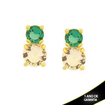 Imagem de Brinco de Pedras de Zircônia Redondas Verde e Branco - 0211735