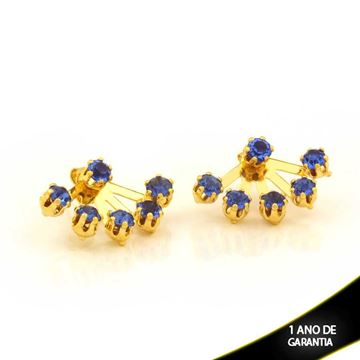 Imagem de Brinco Ear Jacket com Seis Strass Azul Royal - 0208892