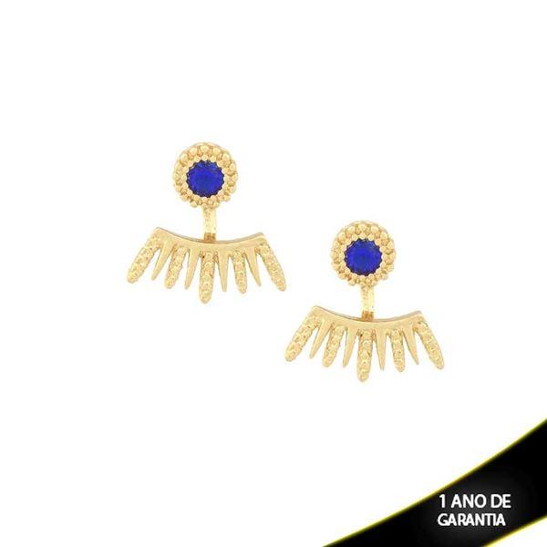 Imagem de Brinco Ear Jacket Trabalhado com Pedra Redonda Azul Bic - 0209213