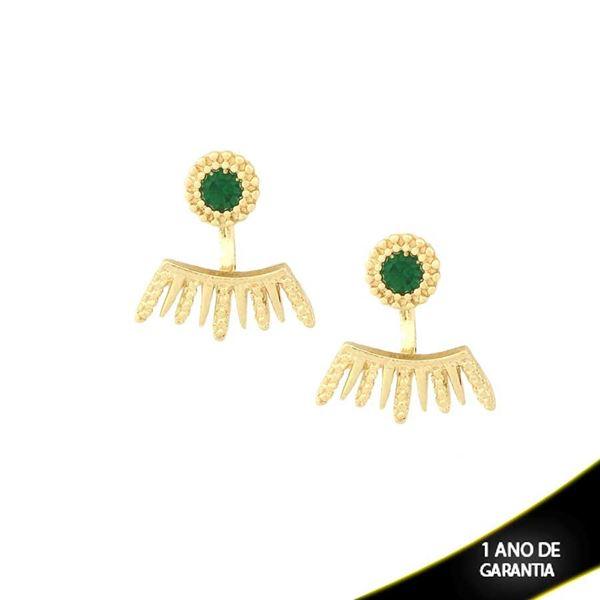 Imagem de Brinco Ear Jacket Trabalhado com Pedra Redonda Verde - 0209213