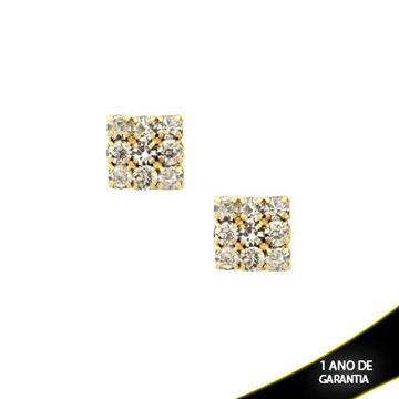 Imagem de Brinco Quadrado com Nove Pedras de Strass Brancas - 0208180
