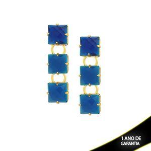 Imagem de Brinco com Três Pedras Acrílicas Azul - 0209240