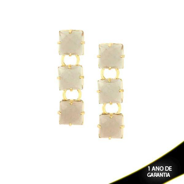 Imagem de Brinco com Três Pedras Acrílicas Cinza - 0209240