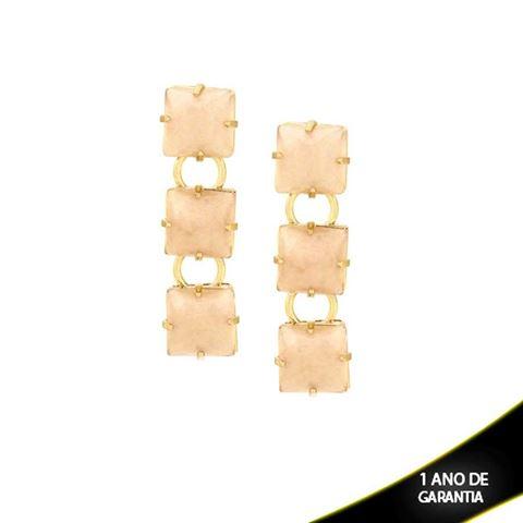 Imagem de Brinco com Três Pedras Acrílicas Nude - 0209240